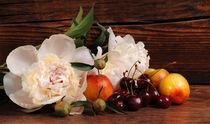 Peony, cherry and peach. Still life with fresh berries and flowers. by larisa-koshkina
