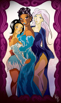 Three Sisters - Colorful Women by Kita  Parnell