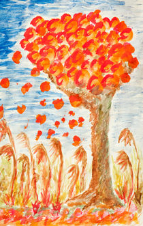 Autumn tree on the wind von Arletta Cwalina