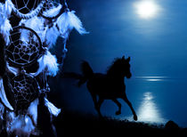 in dreams - galloping horse on beach in moonlight with dreamcatcher by paganin