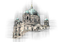 Berlin cathedral like technical drawing artwork in monochrome. von paganin