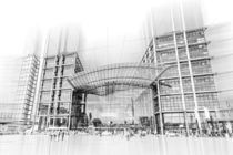 Berlin main railway station - artwork like technical drawing von paganin