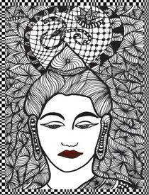 Buddha Zentangle mit Rahmen von Asri  Ballandat - Knobbe