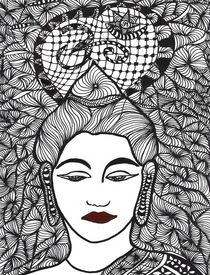 Buddha Zentangle 1 von Asri  Ballandat - Knobbe