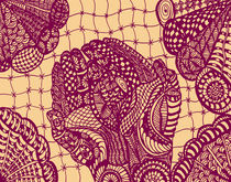 Zentangle Hand dunkel rot von Asri  Ballandat - Knobbe