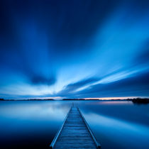 Jetty on a lake at dawn, near Amsterdam The Netherlands by Sara Winter