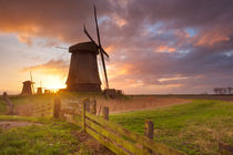 Traditional Dutch windmills at sunrise in The Netherlands von Sara Winter