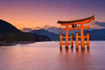 Miyajima torii gate near Hiroshima, Japan at sunset by Sara Winter