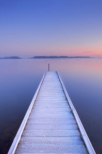 Jetty on a still lake in winter in The Netherlands von Sara Winter