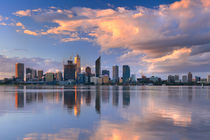 Skyline of Perth, Australia across the Swan River at sunset by Sara Winter