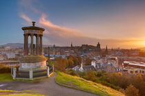 Skyline of Edinburgh, Scotland from Calton Hill at sunset by Sara Winter