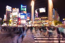 Shibuya Crossing in Tokyo, Japan at night by Sara Winter