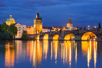 The Charles Bridge in Prague, Czech Republic at night by Sara Winter