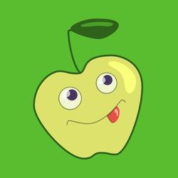 Cute-cartoon-apple-green-print