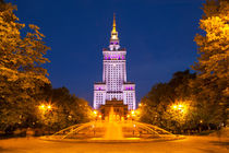 Palace of Culture and Science in Warsaw, Poland at night by Sara Winter