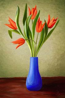 Red Tulips in Blue Vase von Ilgvars Rauda