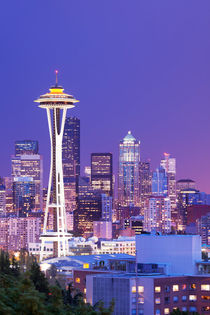 Space Needle and skyline of Seattle, Washington, USA at night by Sara Winter