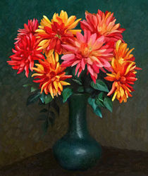 Still Life with Red Flowers by Ilgvars Rauda