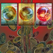 Slotmachine with Roulette-Balls on 5-50-500€-Notes von Clementine Klein