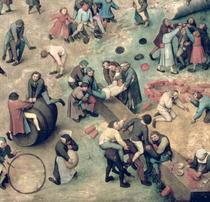 Kinderspiele: Detail der rechten unteren Ecke der Darstellung vo by Pieter Brueghel the Elder