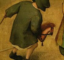 Kinderspiele, Detail eines Kindes mit einem Holzpferd von Pieter Brueghel the Elder