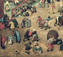 Kinderspiele: Detail der linken Abschnitt zeigt Kindern Bowling  von Pieter Brueghel the Elder