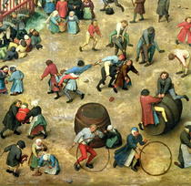 Kinderspiele: Detail der unteren Abschnitt zeigt verschiedene Sp by Pieter Brueghel the Elder