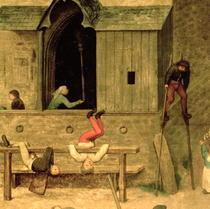 Kinderspiele: Detail eines Jungen auf Stelzen und spielenden Kin von Pieter Brueghel the Elder