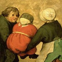 Kinderspiele: Detail eines Kindes durch zwei andere von Pieter Brueghel the Elder