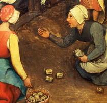 Kinderspiele: Detail eines Spiels werfen Knöchel Knochen by Pieter Brueghel the Elder