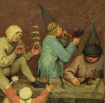 Kinderspiele: Detail der linken Abschnitt zeigen Kinder machen S by Pieter Brueghel the Elder