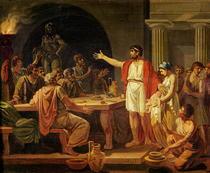 Studie für Anzeigen Lykurgos von Sparta die Alten ihren König von Jacques Louis David