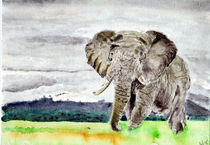Watercolor Elefant in the Savannah by Sadullah Memisoglu