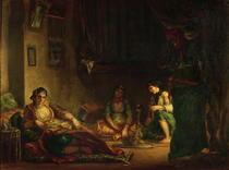 Die Frauen von Algier in ihrem Harem by Ferdinand Victor Eugèn  Delacroix
