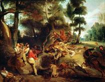 Die Wildschweinjagd, nach einem Gemälde von Rubens von Ferdinand Victor Eugèn  Delacroix