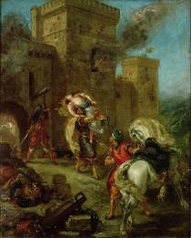 Rebecca Kidnapped durch die Templer, Sir Brian de Bois-Guilbert by Ferdinand Victor Eugèn  Delacroix