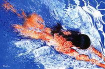 Menschen Malerei - Schwimmerin (aus der Serie Wasser) by Geert Bordich