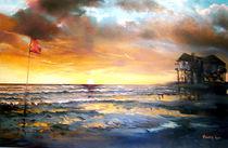 Landschaft Malerei - St. Peter-Ording_zeigt Flagge (aus der Serie Wasser) von Geert Bordich