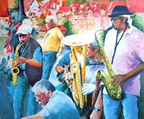 Menschen Malerei - Jazz auf der Karlsbrücke in Prag von Geert Bordich