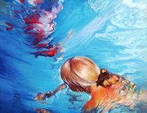 Menschen Malerei - Deep Blue (aus der Serie Wasser) by Geert Bordich