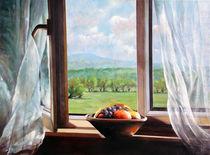 Landschaft Malerei - Blick durchs Fenster Sandweier von Geert Bordich
