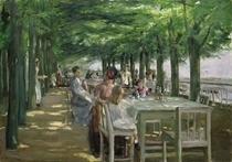 Die Terrasse vom Restaurant Jacob in Nienstedten an der Elbe by Max Liebermann