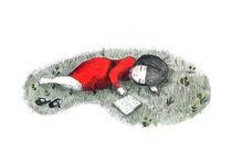 Sleeping, little girl, book, poster