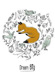Dream big, fox sleeping, poster quote