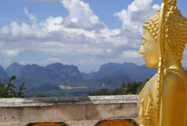 Golden Buddha Statue on the top of the mountain, by Perry  van Munster