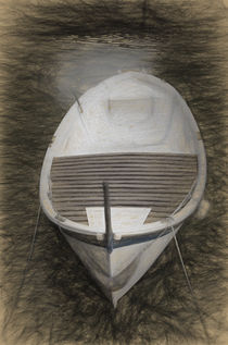 Old traditional rowing Boat in the port of Iseo, Italy. von Perry  van Munster