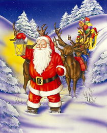 Christmas Santa with sledge and reindeer by arthousedesign