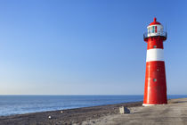 Red and white lighthouse and a clear blue sky von Sara Winter