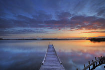Jetty on a lake at sunrise, near Amsterdam The Netherlands von Sara Winter