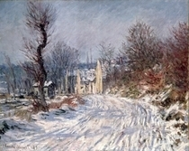 Die Straße nach Giverny, Winter by Claude Monet